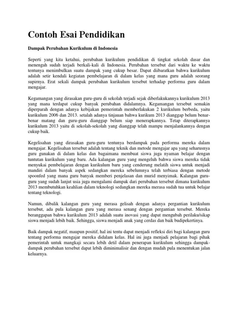 Contoh Essay Tentang Pendidikan : contoh, essay, tentang, pendidikan, Contoh, Pendidikan:, Dampak, Perubahan, Kurikulum, Indonesia