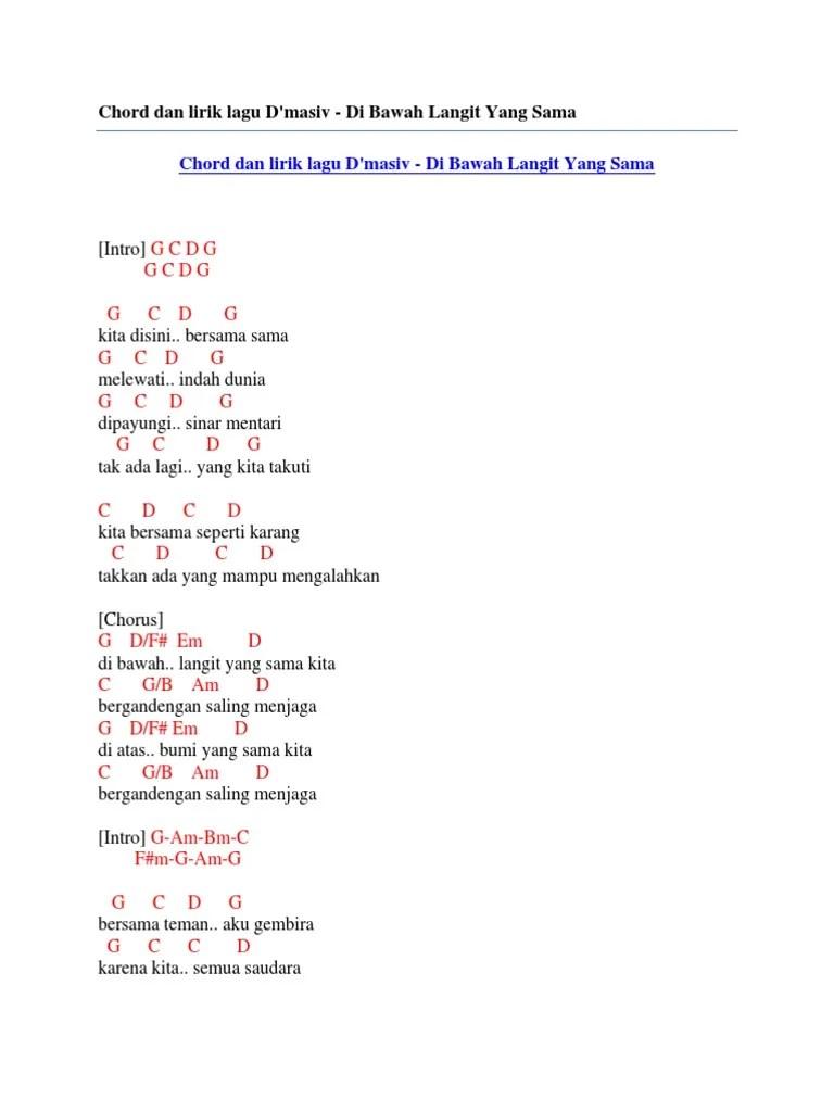 Chord Langit Bumi : chord, langit, Chord, Lirik, D'Masiv, Bawah, Langit