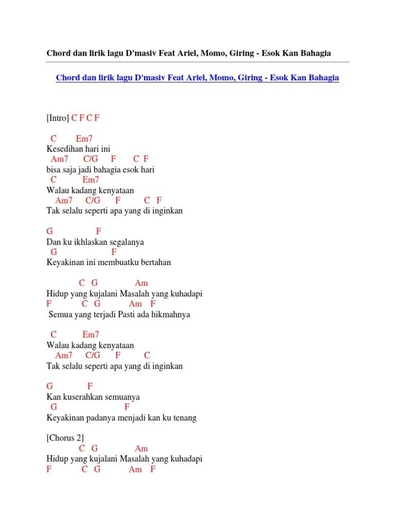Kunci Gitar Hari Esok : kunci, gitar, Chord, Lirik, D'Masiv, Ariel,, Momo,, Giring, Bahagia