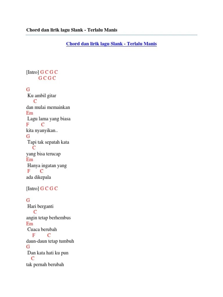 Chord Ku Ambil Gitar : chord, ambil, gitar, Chord, Slank, Terlalu, Manis, Versi, Akustik