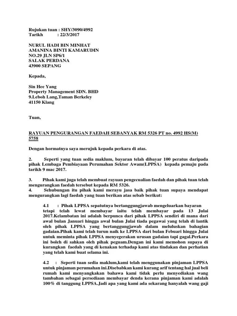 Contoh Surat Rasmi Rayuan Penangguhan Bayaran Balik Pinjaman