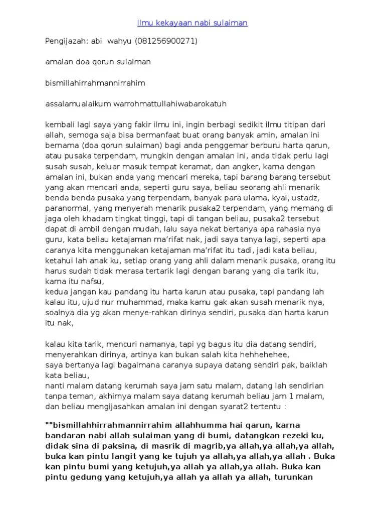 Ilmu Kekayaan Nabi Sulaiman Menarik Pusaka Dan Rejeki : kekayaan, sulaiman, menarik, pusaka, rejeki, Ilmu-Kekayaan-Nabi-Sulaiman.doc