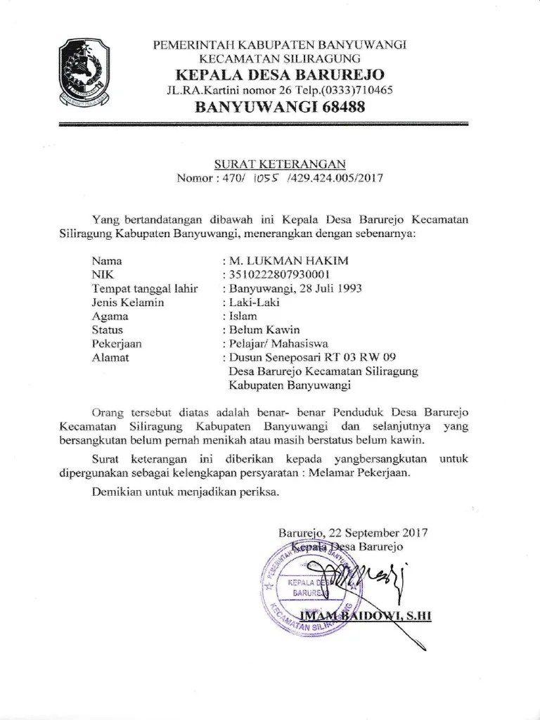 Contoh Surat Keterangan Belum Pernah Menikah Dari Kelurahan Bagikan Contoh Cute766