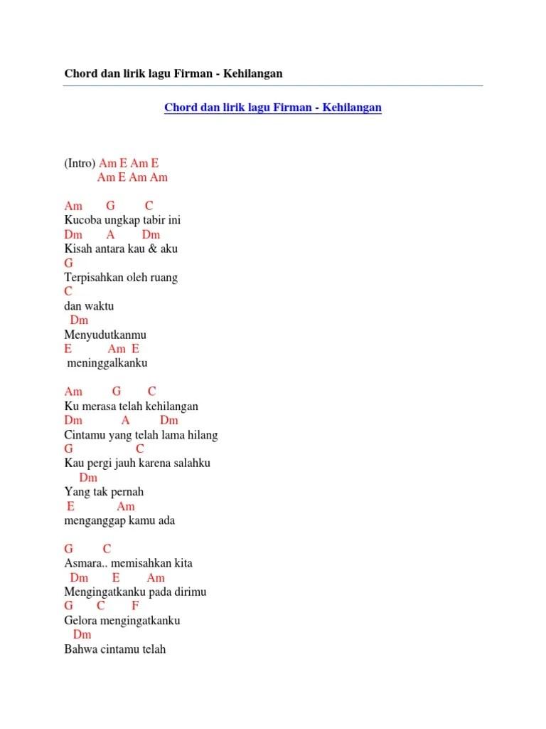 Chord Lagu Firman Kehilangan : chord, firman, kehilangan, Chord, Lirik, Firman, Kehilangan