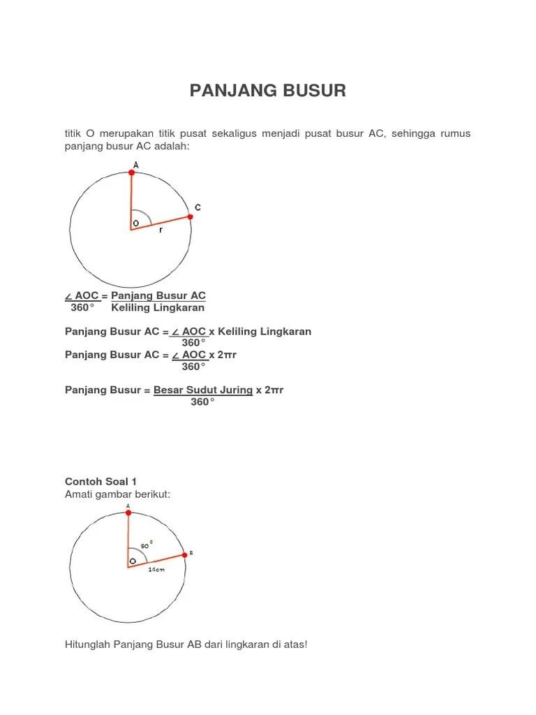 Panjang Busur Lingkaran : panjang, busur, lingkaran, MATSEK