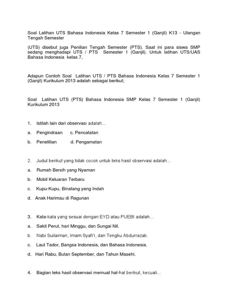 Soal Bahasa Indonesia Kelas 7 Semester 1 Kurikulum 2013 : bahasa, indonesia, kelas, semester, kurikulum, Soal-Latihan-UTS-Bahasa-Indonesia-Kelas-7-Semester=1-K13