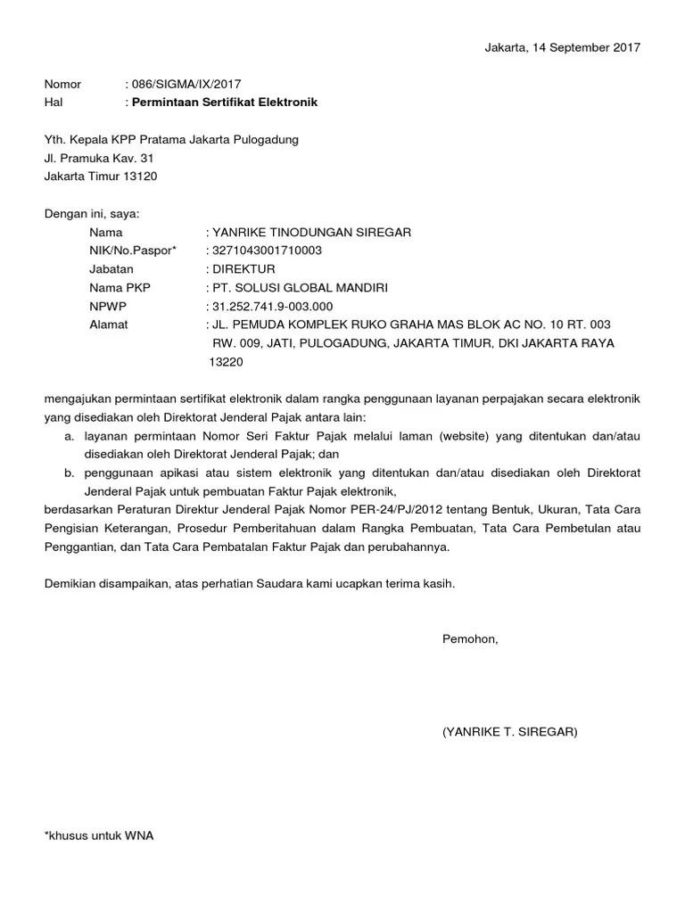 Surat Permohonan Perpanjangan Sertifikat Elektronik Word : surat, permohonan, perpanjangan, sertifikat, elektronik, Contoh, Surat, Permohonan, Sertifikat, Elektronik, Pajak, Cute766