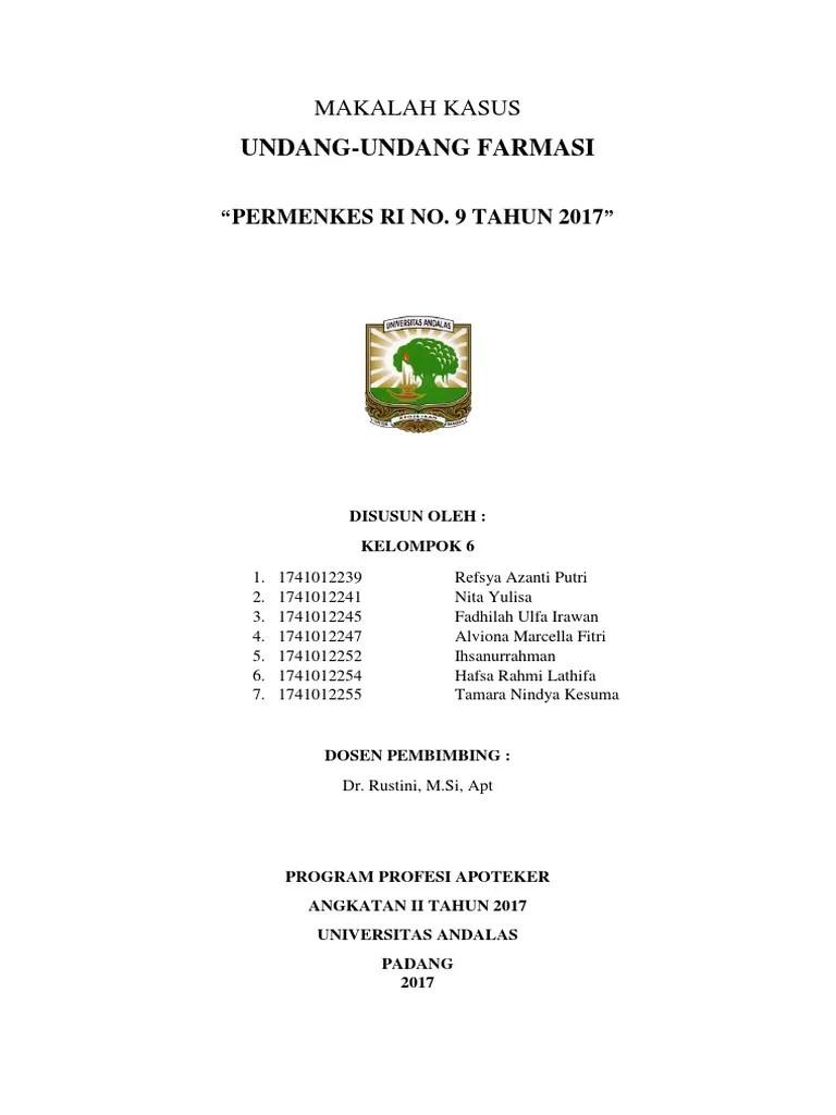 Permenkes Nomor 9 Tahun 2017 Tentang Apotek Pdf : permenkes, nomor, tahun, tentang, apotek, Makalah, Permenkes