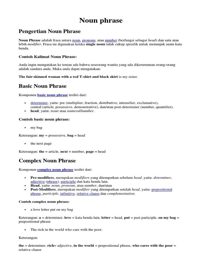 Contoh Noun Phrase : contoh, phrase, Phrase, Benda, Adjektiva