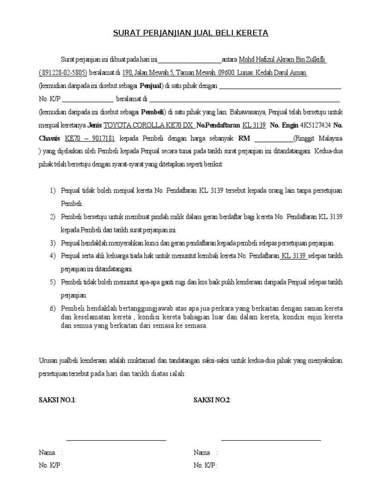 Contoh Surat Perjanjian Jual Beli Kereta Sambung Bayar