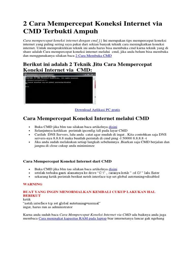 Mempercepat Koneksi Internet Cmd : mempercepat, koneksi, internet, Mempercepat, Koneksi, Internet, Terbukti, Ampuh