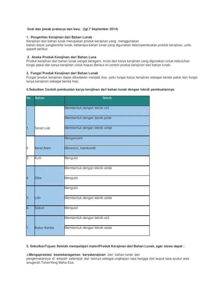 Soal Dan Jawab Prakarya Dan Kwu.docx