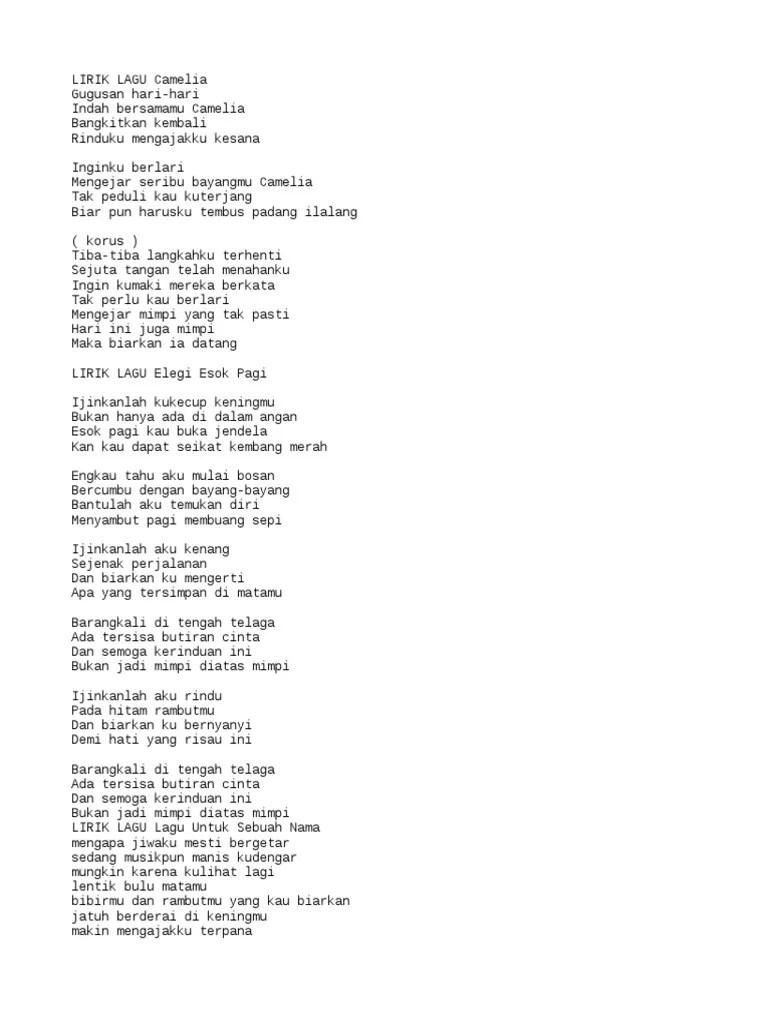 Lirik Lagu Elegi Esok Pagi : lirik, elegi, Ijinkanlah, Kukecup, Keningmu, Goreng