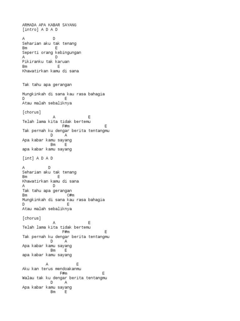 Chord Armada Apa Kabar Sayang : chord, armada, kabar, sayang, Armada, Kabar, Sayang