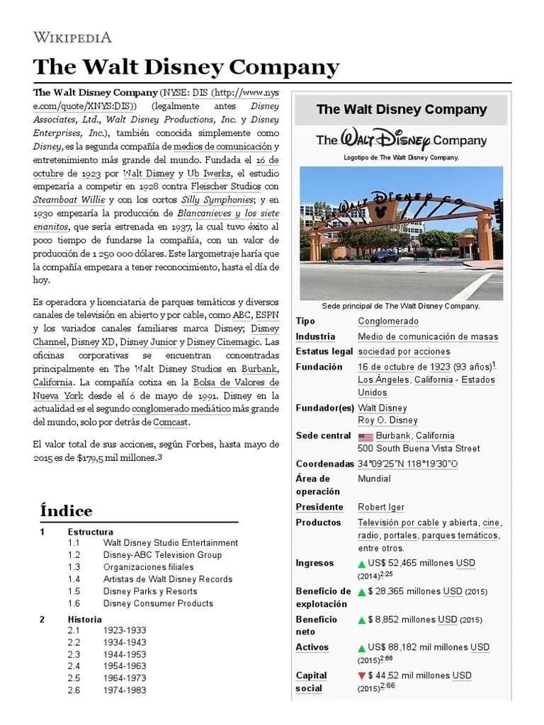 The Walt Disney Company Filiales : disney, company, filiales, Disney, Company, Compañía, Industria, Medios