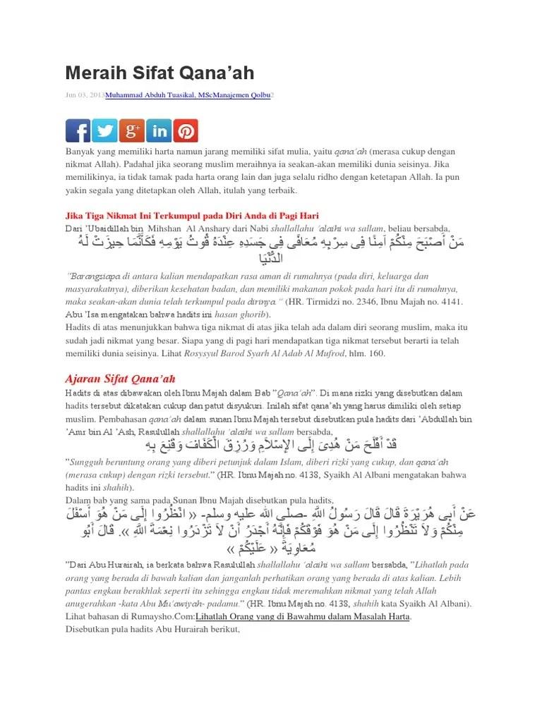 Hadits Qanaah : hadits, qanaah, Hadits, Tentang, Qanaah, Sumber