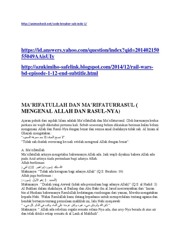 Rail Wars Sub Indo : 55049Aaisuiy, Bd-Episode-1-12-End-Subtitle.Html:, Ma'Rifatullah, Ma'Rifaturrasul, Mengenal, Allah, Rasul-Nya)