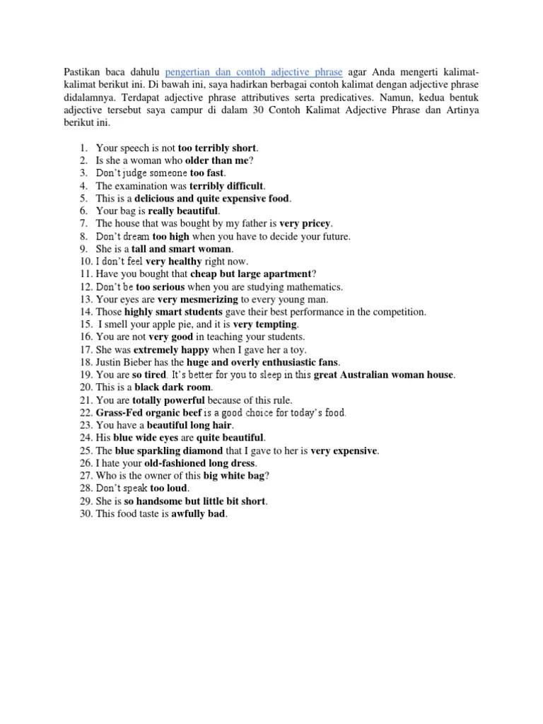 Contoh Kalimat Adjective Clause : contoh, kalimat, adjective, clause, Example, Sentences, Adjective, Phrase