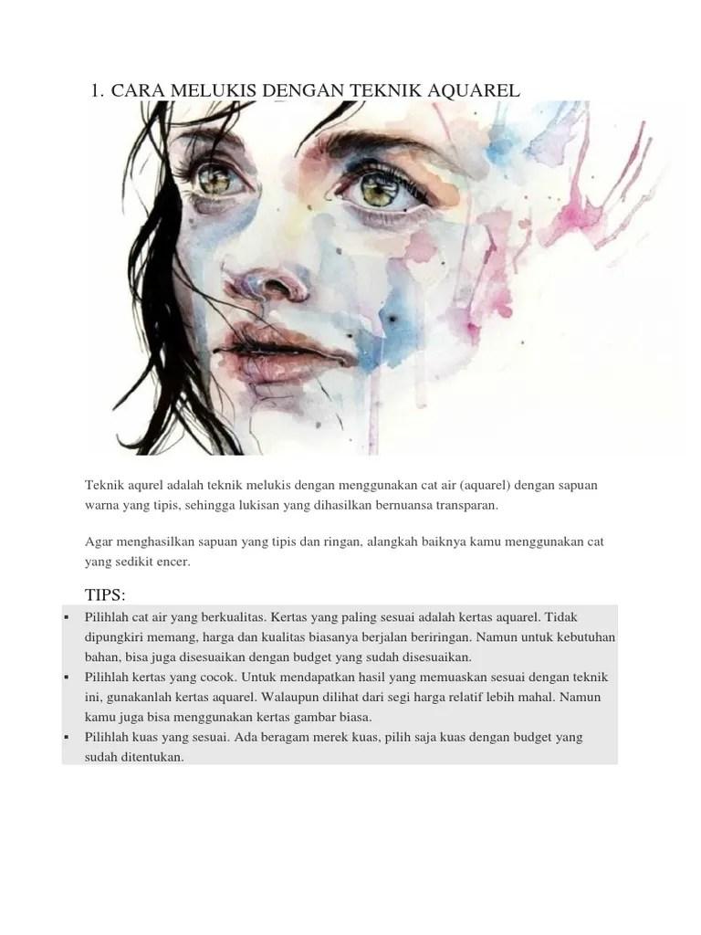 25+ Teknik Melukis Beserta Penjelasan Bagi Pemula