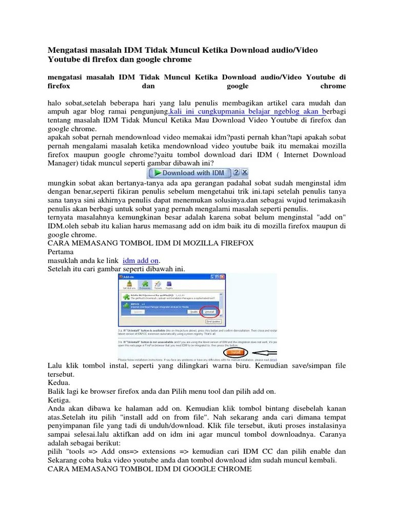 Idm Tidak Muncul Di Firefox : tidak, muncul, firefox, Mengatasi, Masalah, Tidak, Muncul, Ketika, Download, Audio.docx