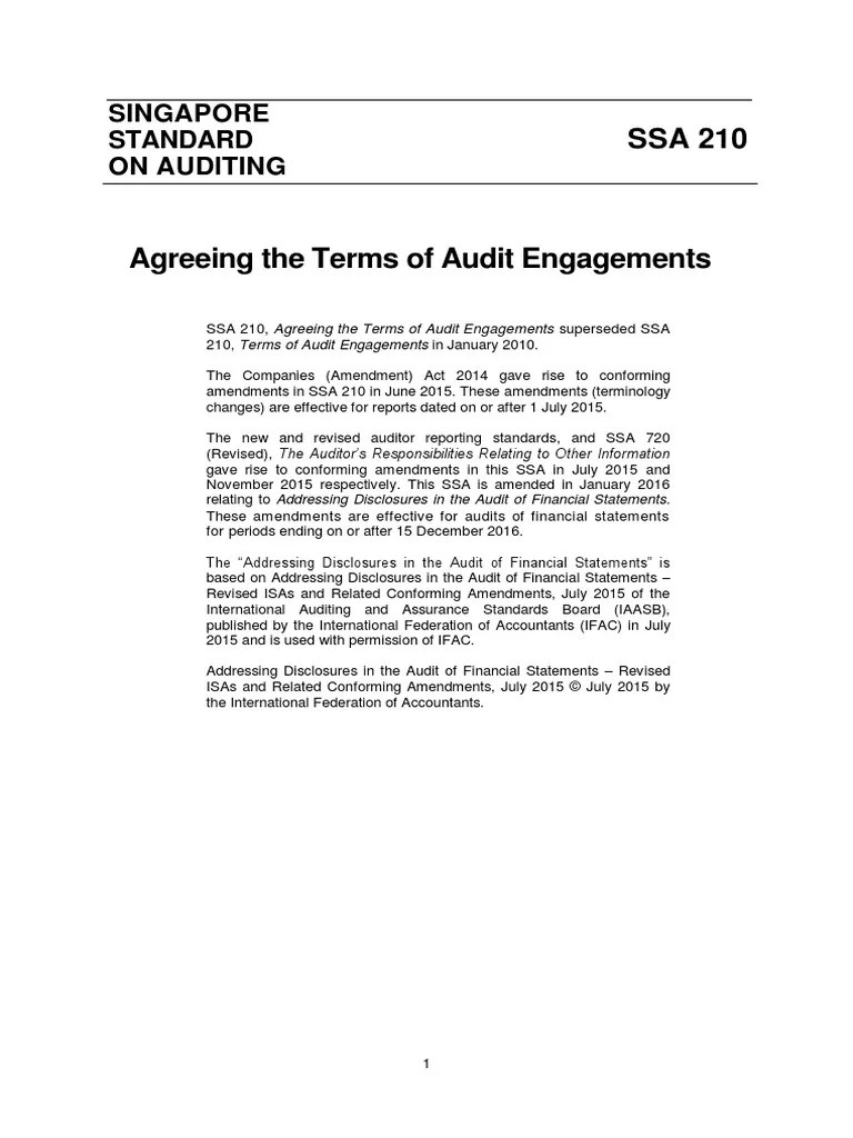Singapore Standard On Auditing: The Auditor's Responsibilities Relating to Other Information | Auditor's Report | Internal Control