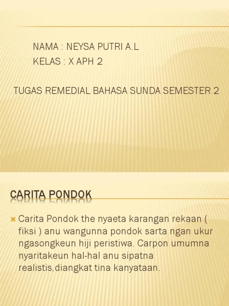 Carita Pondok Bahasa Sunda : carita, pondok, bahasa, sunda, Tugas, Remedial, Bahasa, Sunda, Neysa, Putri