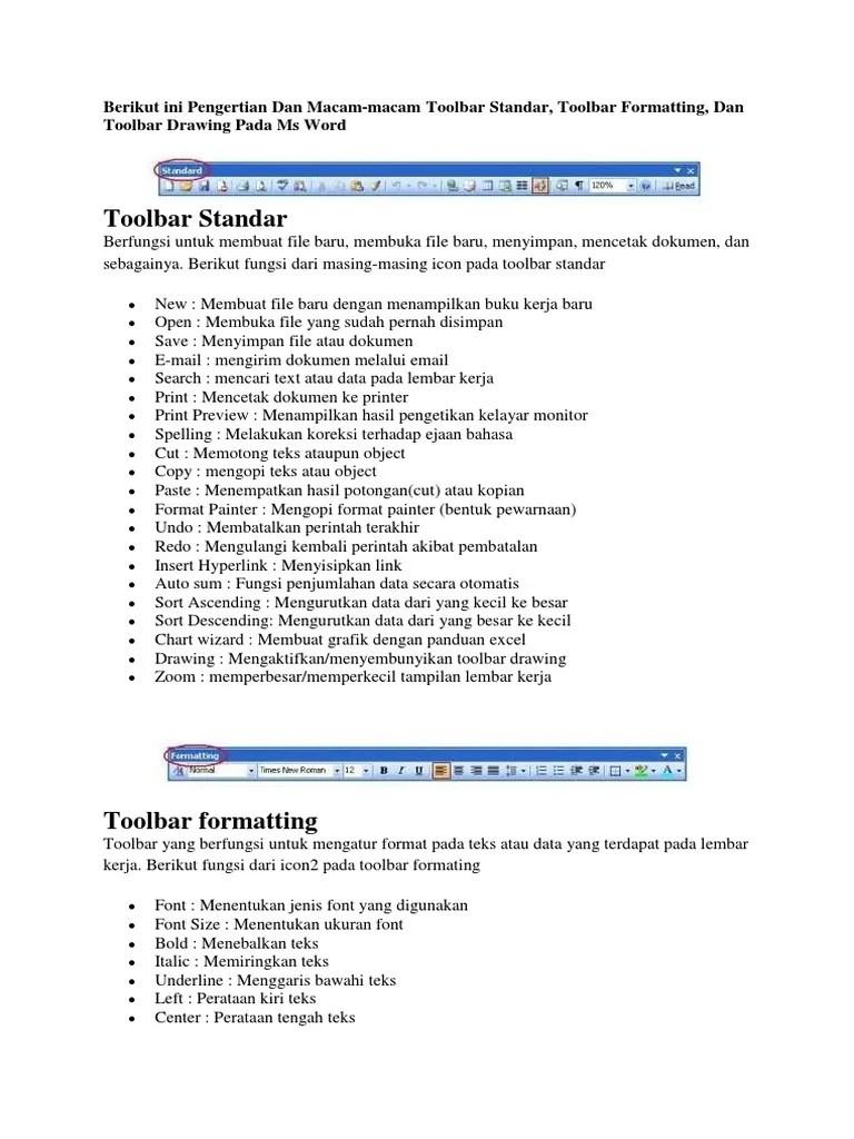 Pengertian Toolbar Standar : pengertian, toolbar, standar, ToolBar
