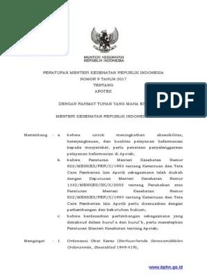 Permenkes Nomor 9 Tahun 2017 Tentang Apotek Pdf : permenkes, nomor, tahun, tentang, apotek