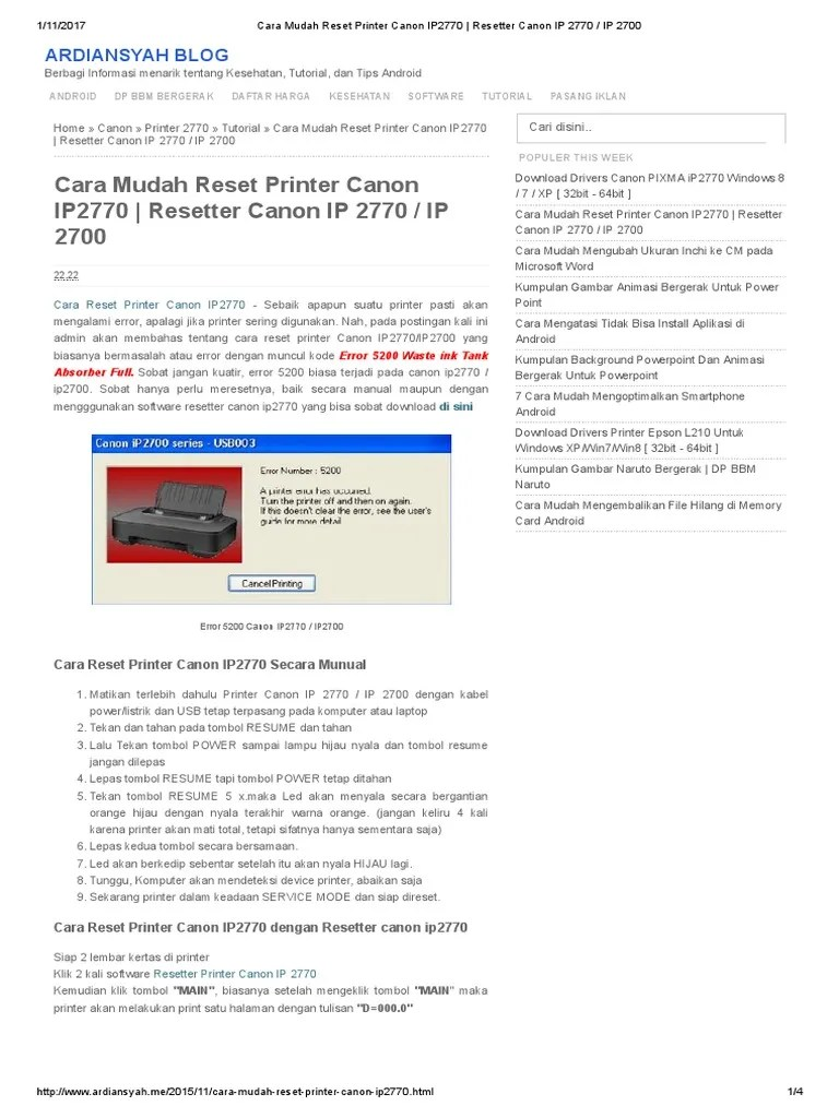 Driver Canon Ip2770 Windows 7 32 Bit : driver, canon, ip2770, windows, Mudah, Reset, Printer, Canon, IP2770, Resetter