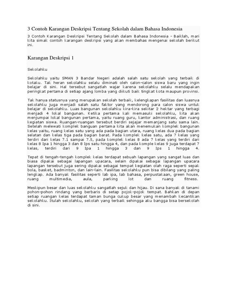 Contoh Karangan Tentang Sekolahku : contoh, karangan, tentang, sekolahku, Contoh, Karangan, Deskripsi, Tentang, Sekolah, Dalam, Bahasa, Indonesia