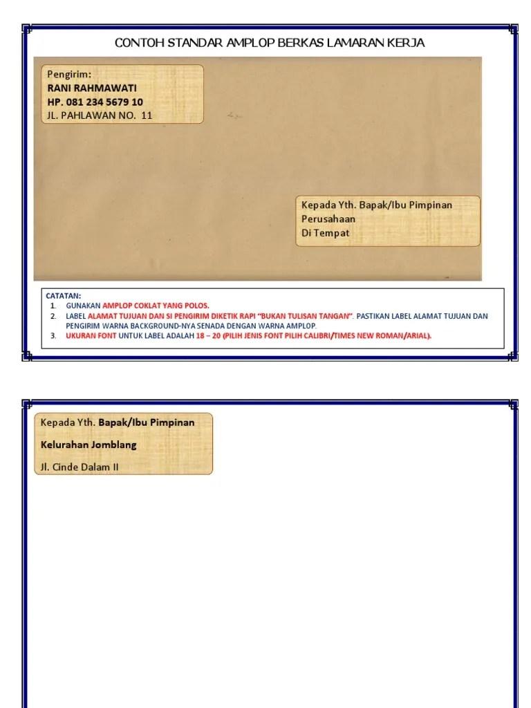 Alamat Di Amplop : alamat, amplop, Contoh, Surat, Lamaran, Kerja, Amplop, Coklat, Cute766