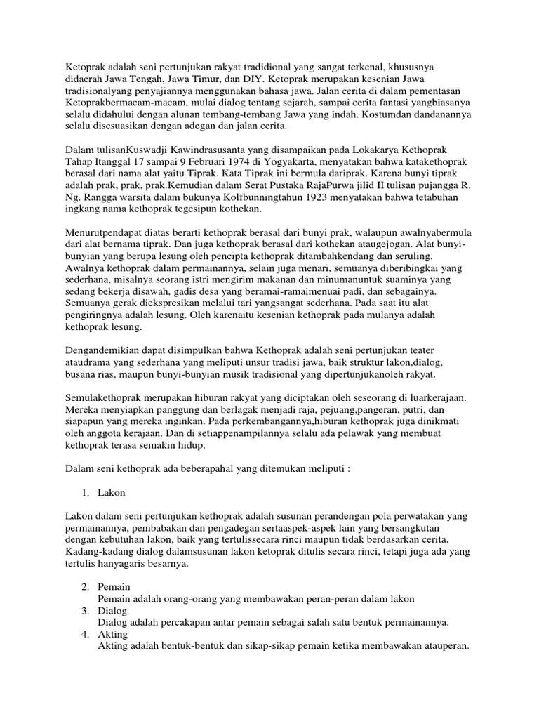 Pengertian Ketoprak Dalam Bahasa Jawa : pengertian, ketoprak, dalam, bahasa, Ketoprak, Adalah, Pertunjukan, Rakyat, Tradidional, Sangat, Terkenal