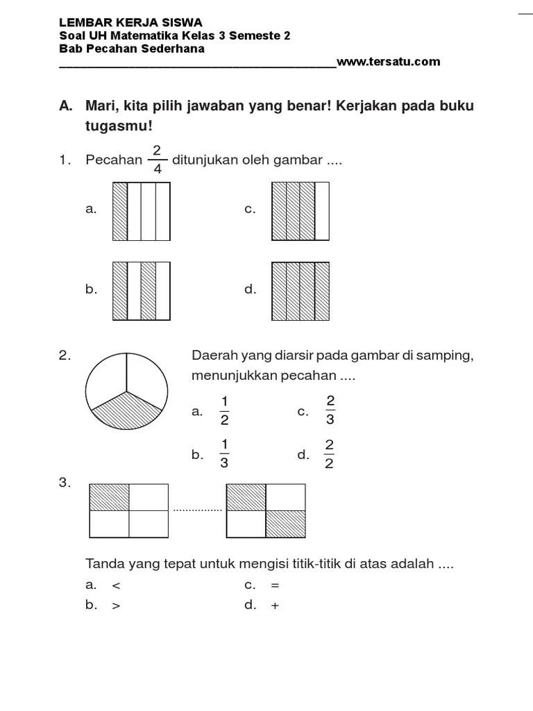 Soal Pecahan Kelas 3 : pecahan, kelas, Kumpulan, Contoh, Pecahan, Sederhana, Kelas, Semester, Cute766