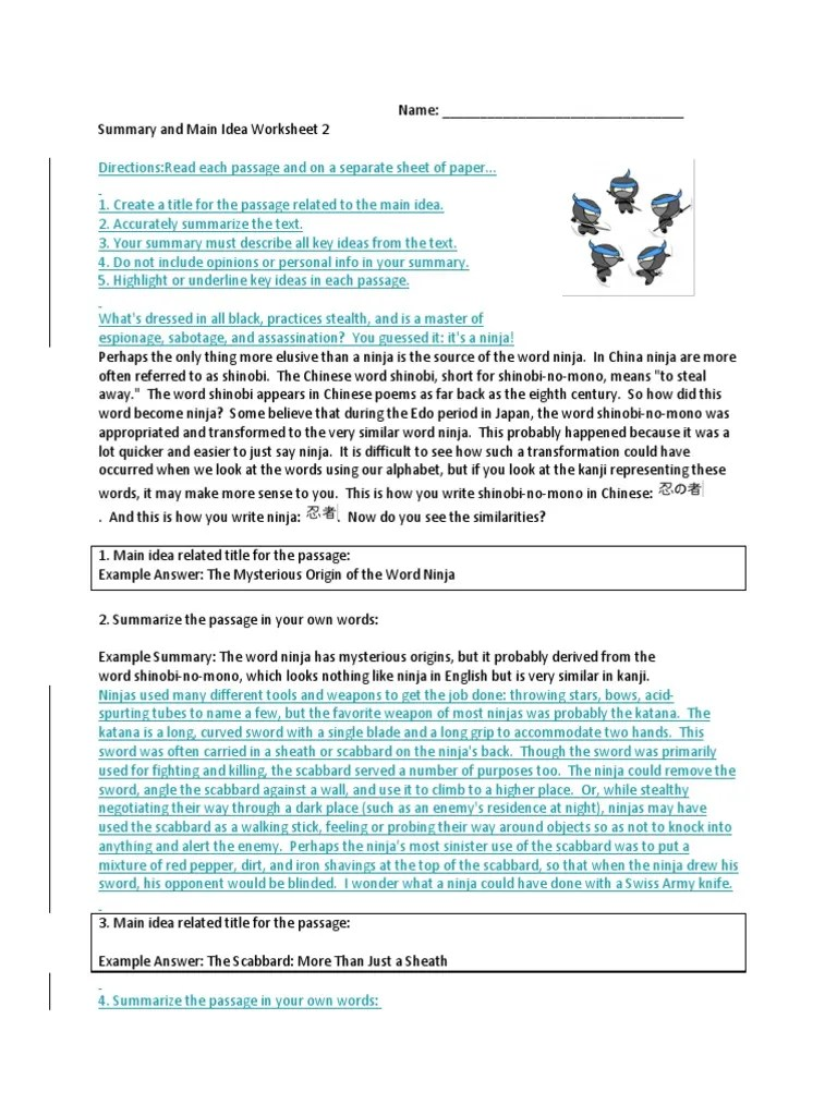 small resolution of Summary And Main Idea Worksheet 1 - Promotiontablecovers