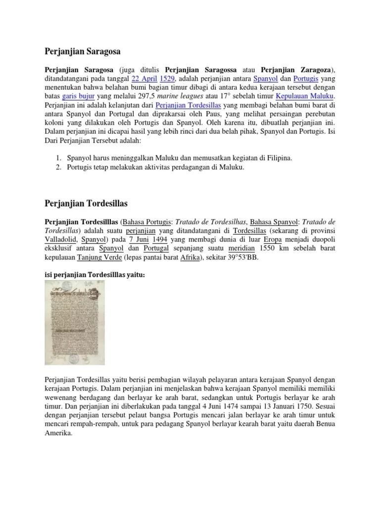 Perjanjian Saragosa Dan Tordesillas : perjanjian, saragosa, tordesillas, Perjanjian, Saragosa