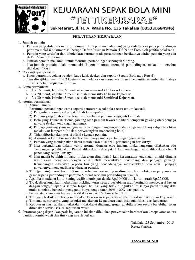 Perlengkapan Permainan Sepak Bola : perlengkapan, permainan, sepak, Contoh, Peraturan, Pertandingan, Sepak