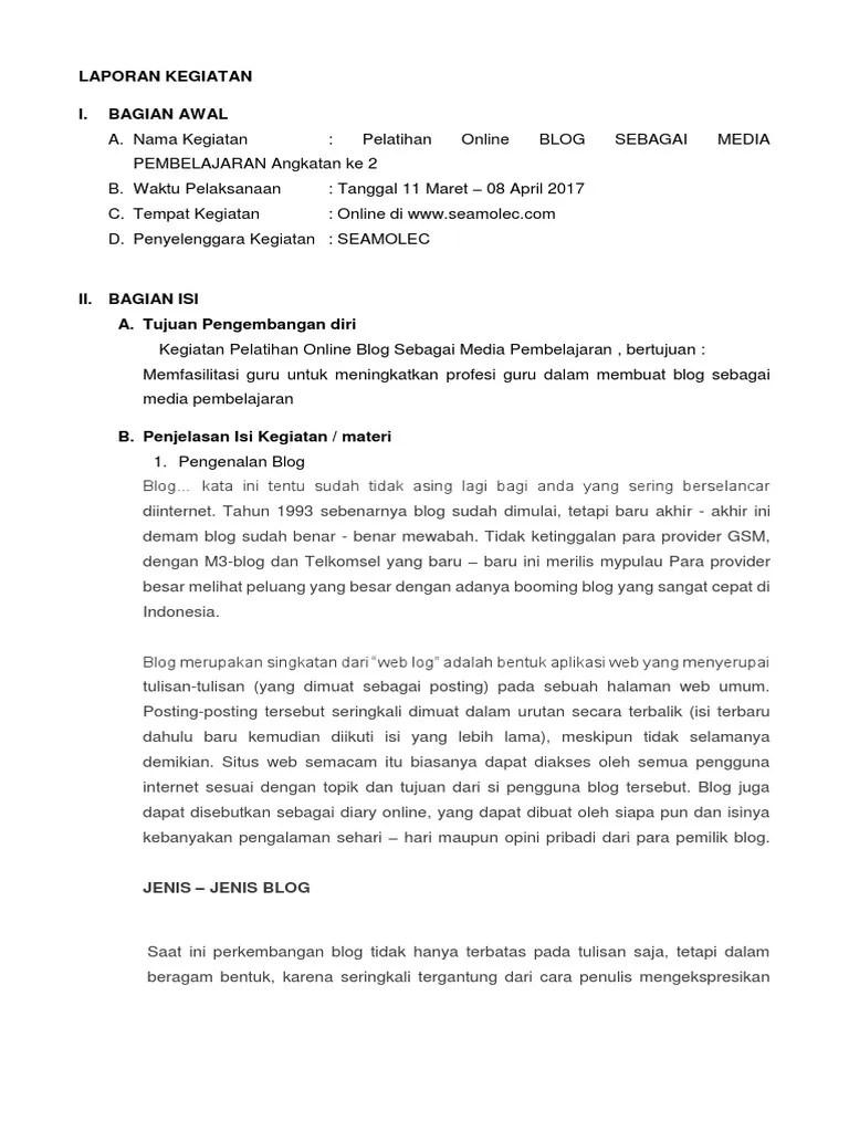 Contoh Laporan Kegiatan Pelatihan Guru Doc Barisan Contoh Cute766