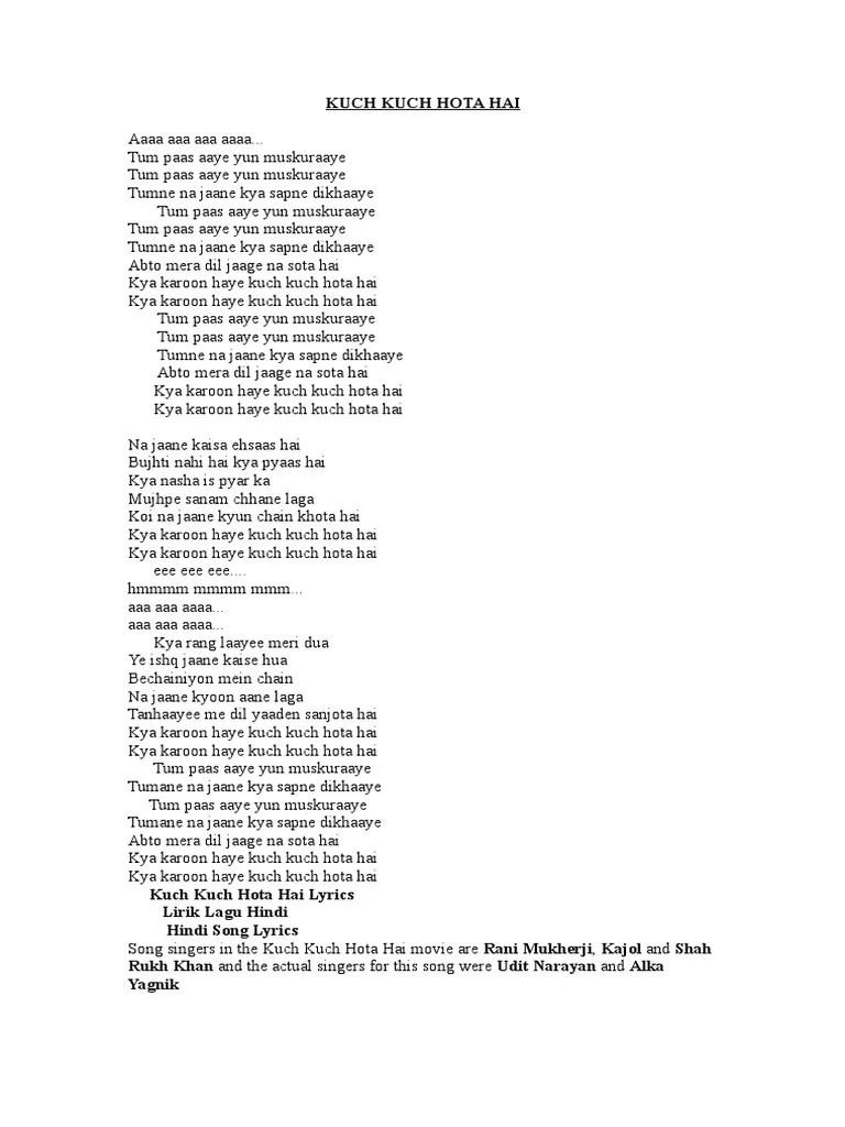 Lirik Lagu Kuch Kuch Hota Hai : lirik, Hai-lirik, Hindi, Language, Media, Cinema
