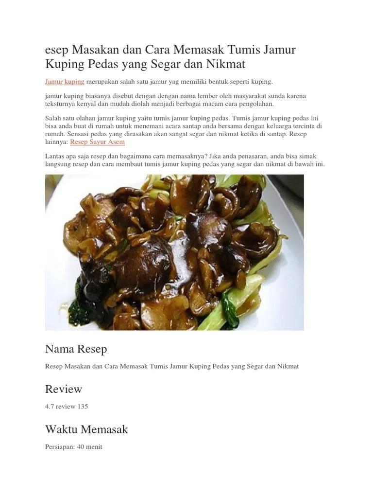 Cara Mengolah Jamur Kuping : mengolah, jamur, kuping, Masak, Jamur, Kuping, Benar, Memasak