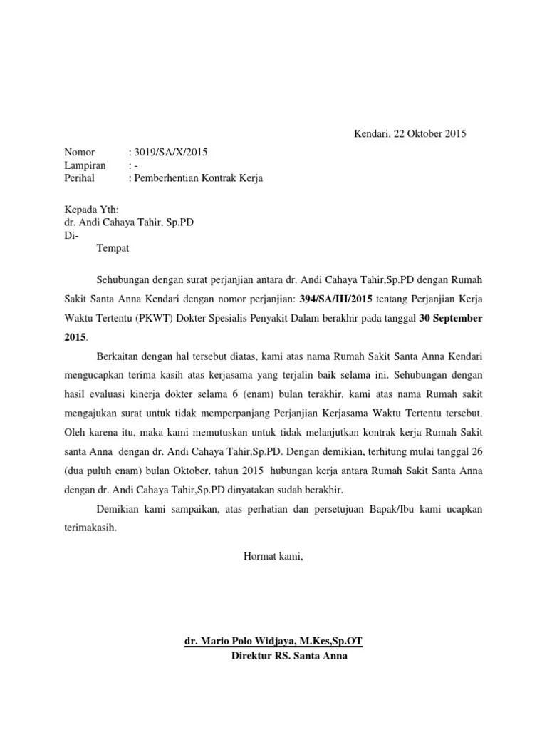 Surat Pemutusan Kontrak : surat, pemutusan, kontrak, Contoh, Surat, Pemutusan, Kontrak, Kerjasama