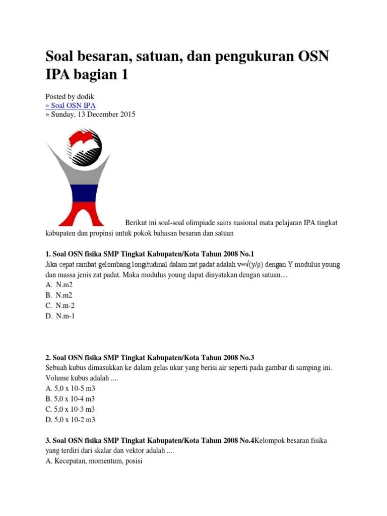 Contoh Soal Olimpiade Fisika Smp Kita