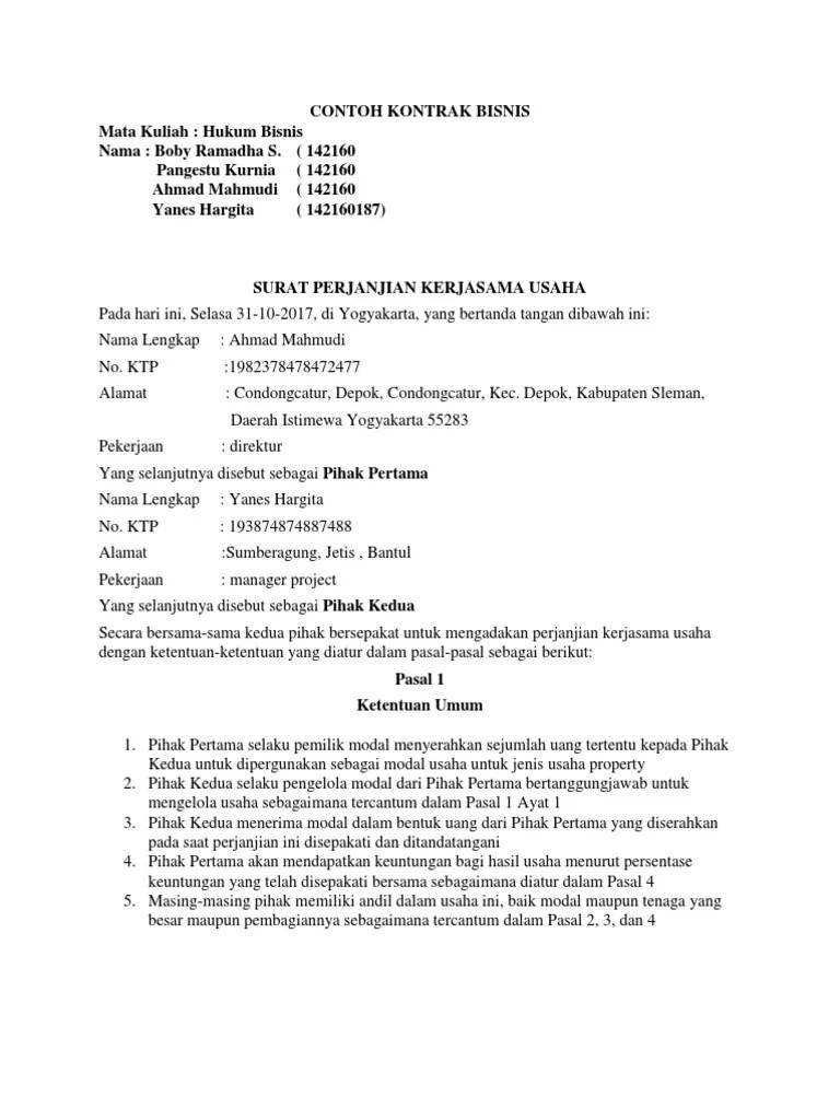 Contoh Kontrak Bisnis Pdf : contoh, kontrak, bisnis, CONTOH, KONTRAK, BISNIS