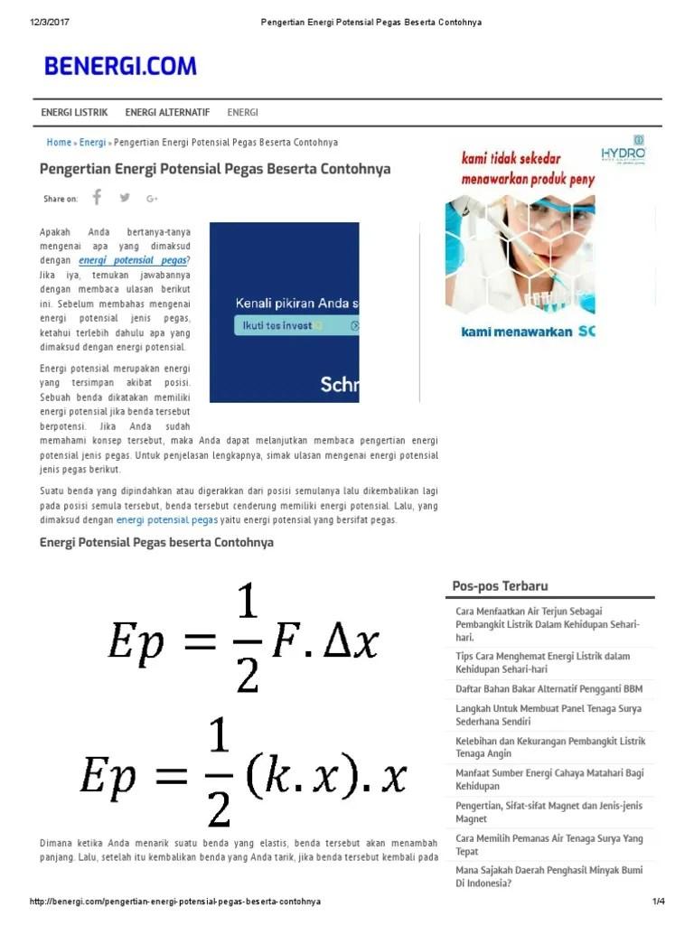 Rumus Energi Potensial Pegas : rumus, energi, potensial, pegas, Pengertian, Energi, Potensial, Pegas, Beserta, Contohnya