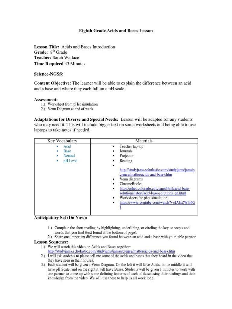 hight resolution of acid and base intro lesson plan   Ph   Cognition