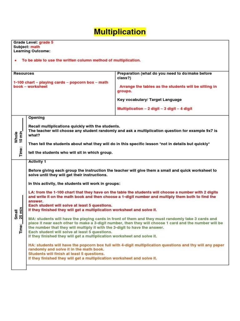 lesson plan - multiplication   Multiplication   Lesson Plan [ 1024 x 768 Pixel ]