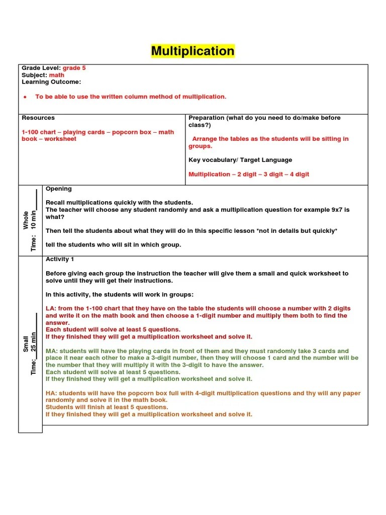 small resolution of lesson plan - multiplication   Multiplication   Lesson Plan