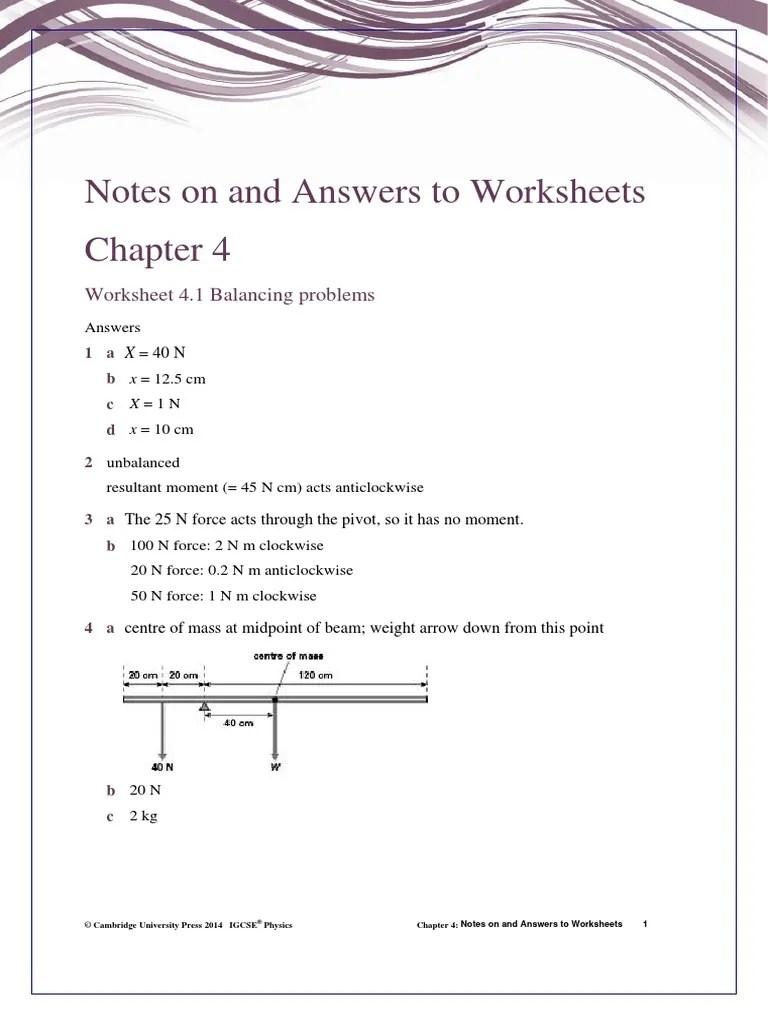 Answers to Worksheet 4 [ 1024 x 768 Pixel ]