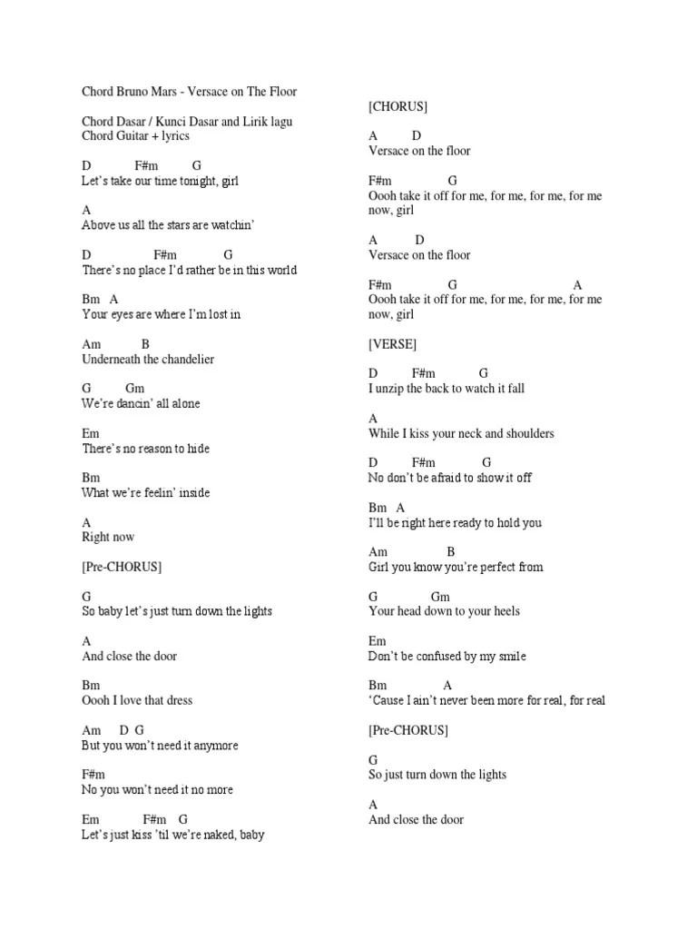 Lirik Lagu Versace On The Floor : lirik, versace, floor, Chord, Gitar, Structure, Vocal, Music