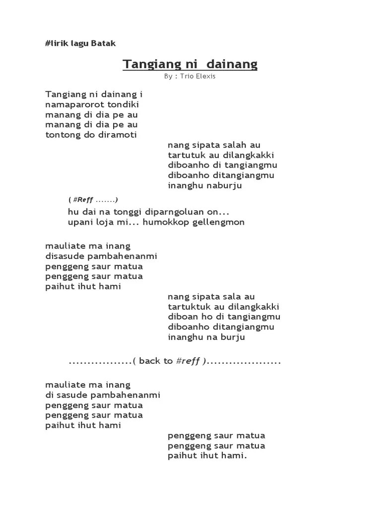 Lirik Lagu Trio Elexis : lirik, elexis, Lirik, Batak