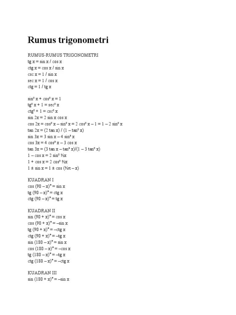 Rumus Cos 2x : rumus, Rumus, Trigonometri